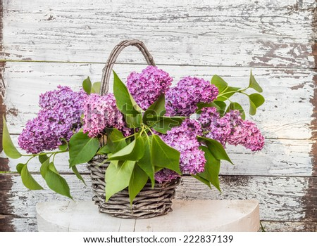 basket with a branch of lilac flower on a wooden surface - stock photo