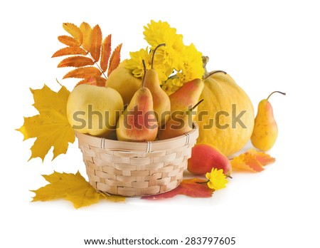 Basket with autumn fruit and pumpkin with autumn leaves. The season of harvest. - stock photo