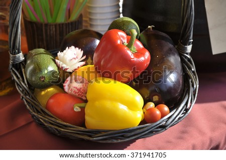 Basket with autumn harvest garden vegetables