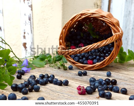 basket with berries, bilberry, raspberry, selective focus