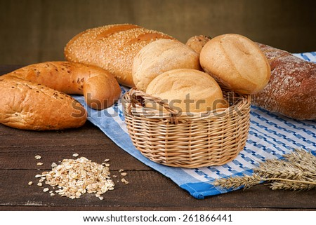 Basket with bread products and oat groats