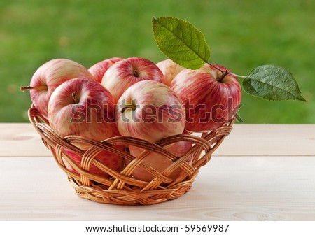 Basket with bright red apples