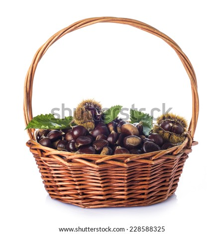 Basket with chestnuts and its leaves and burrs isolated on a white background - stock photo