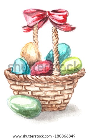 basket with colored Easter eggs - stock photo