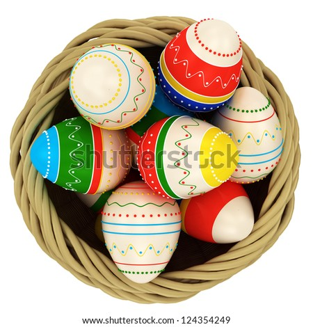 Basket with colorful painted Easter eggs. Isolated on white background