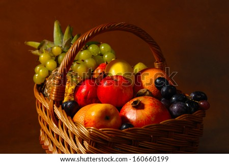 Basket with different fruits on the background...