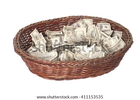Basket with dollars isolated on white background - stock photo