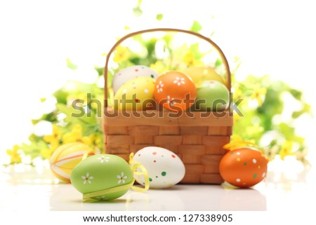 Basket with Easter eggs,Easter celebration. - stock photo
