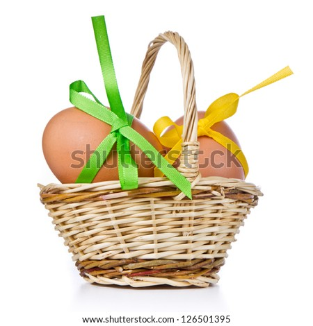 basket with easter eggs isolated