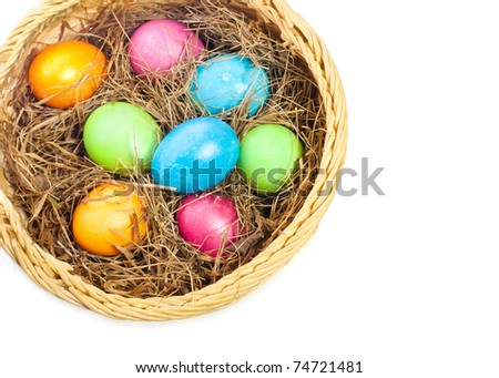 Basket with Easter eggs, the white background