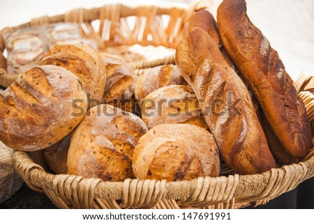 Basket with fresh bread