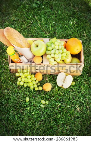 Basket with Fresh Bread, Apples, Grapes, Apricot on Picnic, Green Grass - stock photo