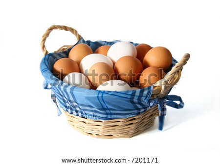 Basket with fresh eggs - stock photo