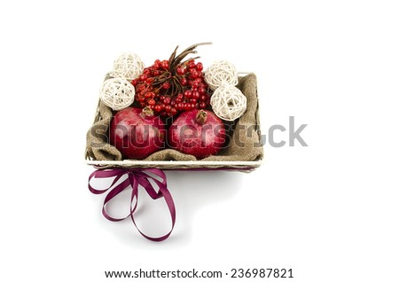 Basket with fruits - stock photo