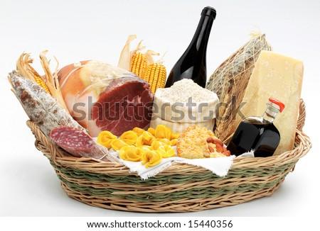Basket with italian food - stock photo