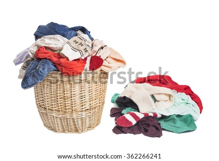 Basket with linen for laundry. On a white background. - stock photo