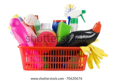 Basket with means for cleaning isolated on white - stock photo