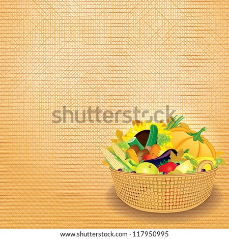Basket with Rich Autumn Harvest. Thanksgiving Card. Design Template with Place for Text. - stock photo