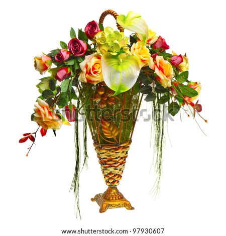 basket with roses and anthurium - stock photo