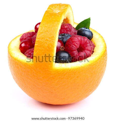 Basket with sweet berry - stock photo