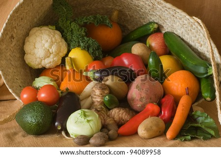 basket with variety of fruits and vegetables - stock photo