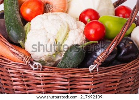Basket with vegetables in the garden