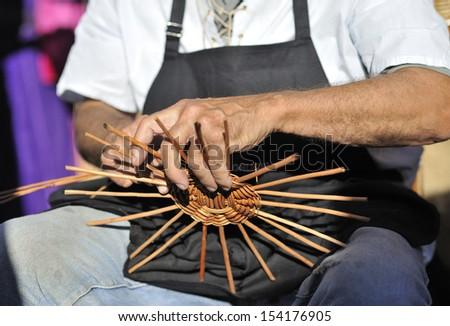 basket working - stock photo