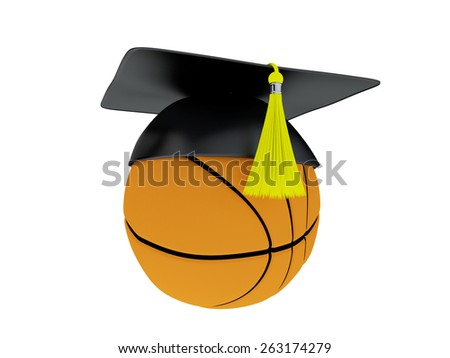 Basketball Academy Concept. 3D Illustration of Ball With Graduation Cap isolated on white. - stock photo