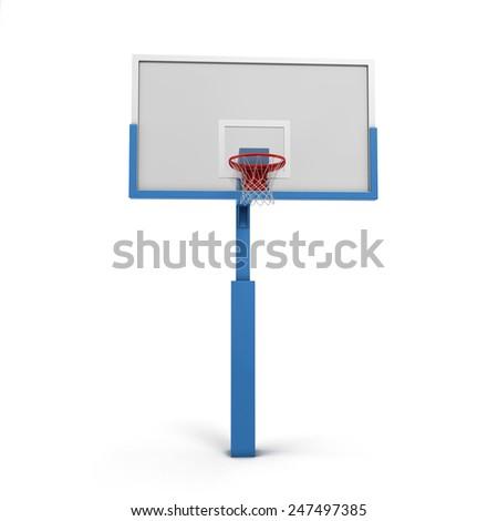 Basketball backboard isolated on white background. 3d render image. - stock photo