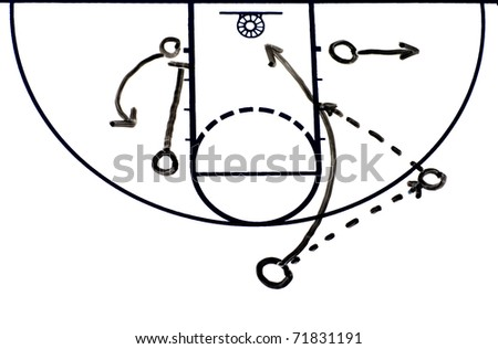 Basketball background diagram on a white board showing a give and go play - stock photo