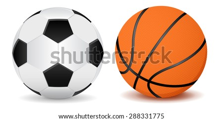 Basketball ball and soccer ball.  Illustration isolated on white background
