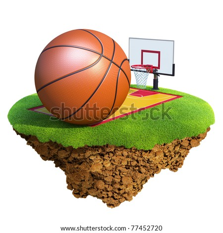 Basketball ball, backboard, hoop and court based on little planet. Concept for Basketball team or competition design. Tiny island / planet collection. - stock photo