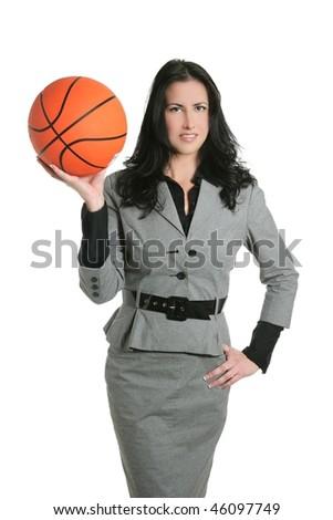Basketball ball businesswoman gray suit goal metaphor - stock photo