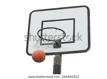 basketball ball flies into the ring - stock photo