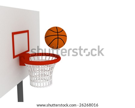 Basketball ball in basket. Isolated on white background; - stock photo