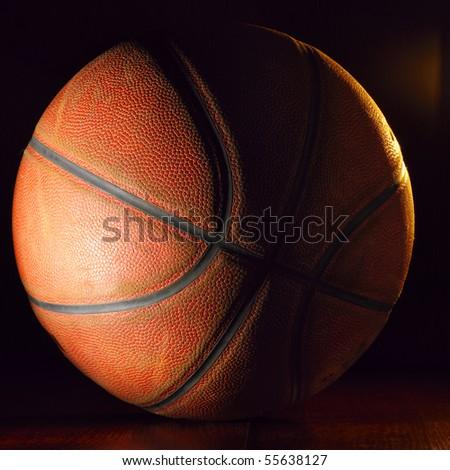basketball ball in dark - stock photo