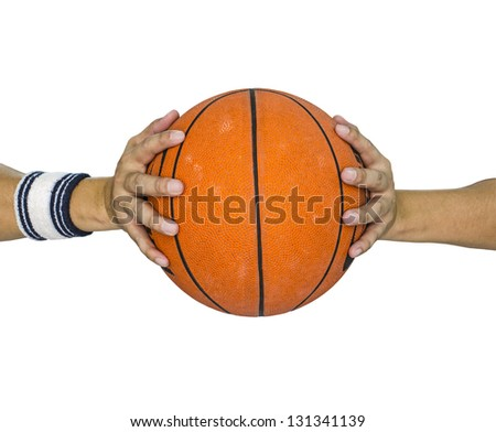 Basketball ball in hands isolated over white - stock photo