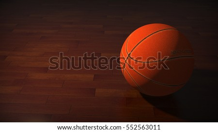 Basketball ball in the dark on court. 3D rendering.