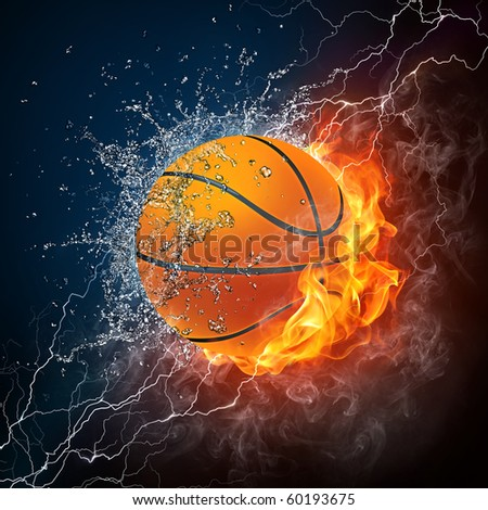 Basketball Ball on Fire and Water. 2D Graphics. Computer Design. - stock photo