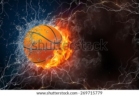 Basketball ball on fire and water with lightening around on black background. Horizontal layout with text space. - stock photo