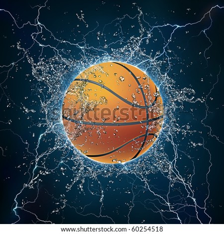 Basketball Ball on Water. 2D Graphics. Computer Design. - stock photo