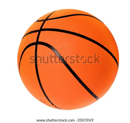 basketball ball over a white background - stock photo