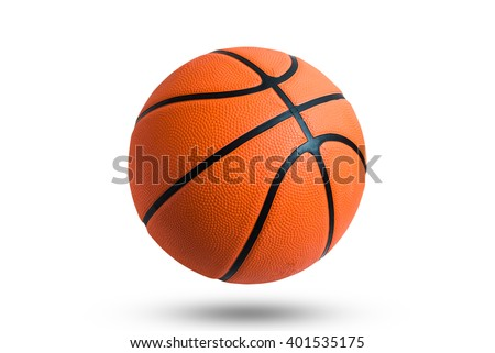 Basketball ball over white background. Basketball ball isolated. orange color Basketball ball.  - stock photo