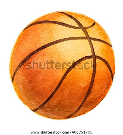 Basketball ball. Watercolor illustration. - stock photo