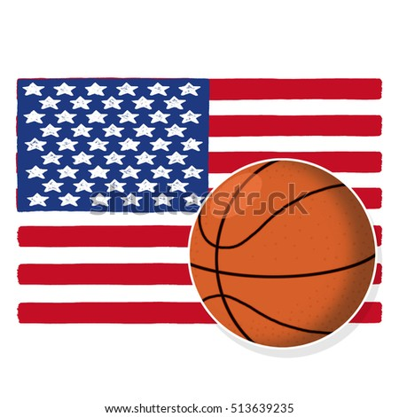 Basketball ball with American flag illustration; USA flag