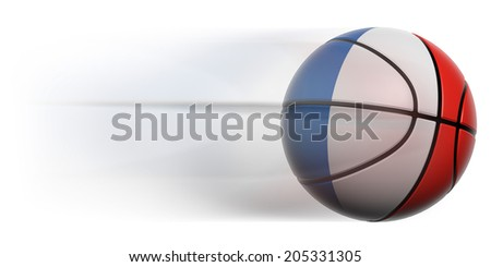 Basketball ball with flag of France in motion isolated - stock photo