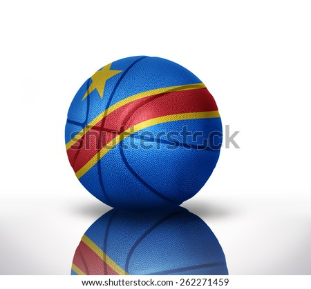 basketball ball with the national flag of democratic republic of the congo on a white background - stock photo