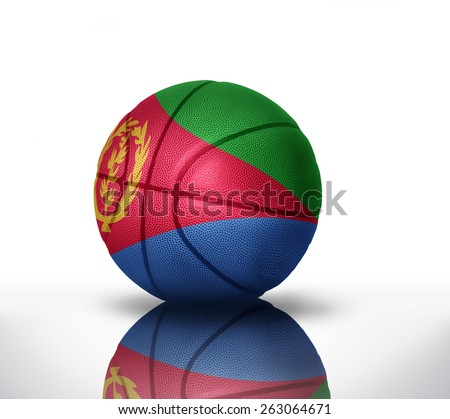 basketball ball with the national flag of eritrea on a white background - stock photo