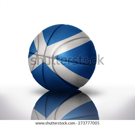 basketball ball with the national flag of scotland on a white background - stock photo
