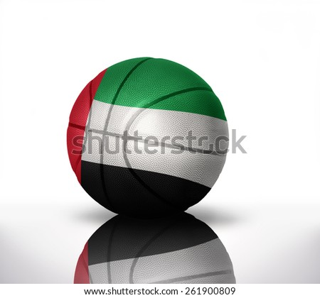 basketball ball with the national flag of united arab emirates on a white background - stock photo